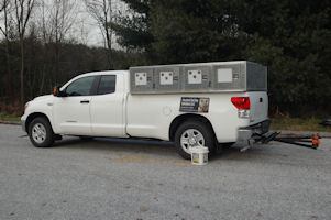 The hitch mounted carrier mounted on the Tundra.